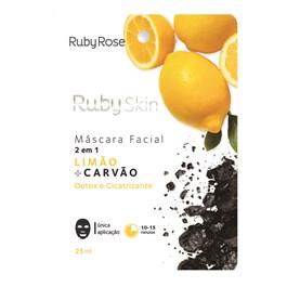 Máscara Facial de Tecido Ruby Rose Limão + Carvão