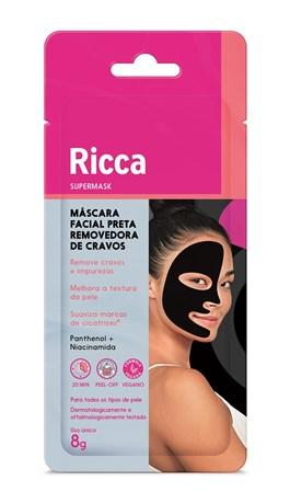 Máscara Facial Preta Ricca 1 unidade Vitamina B3 Panthenol
