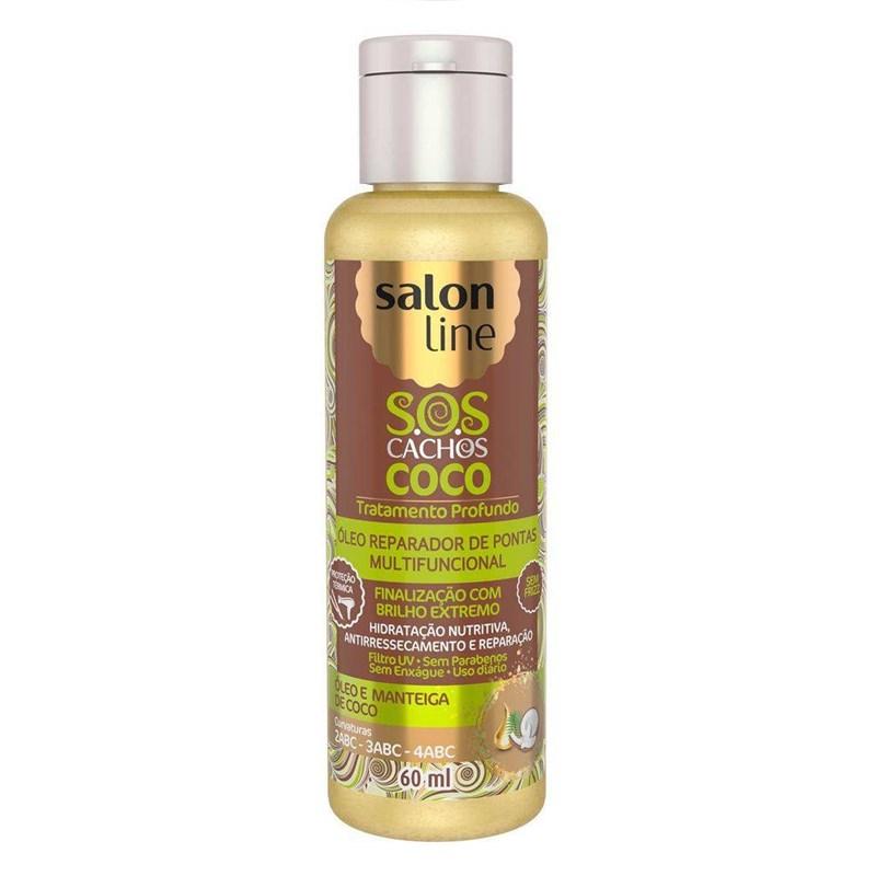 Óleo Reparador de Pontas Salon Line S.O.S CACHOS COCO 60 ml Óleo e Manteiga de Coco
