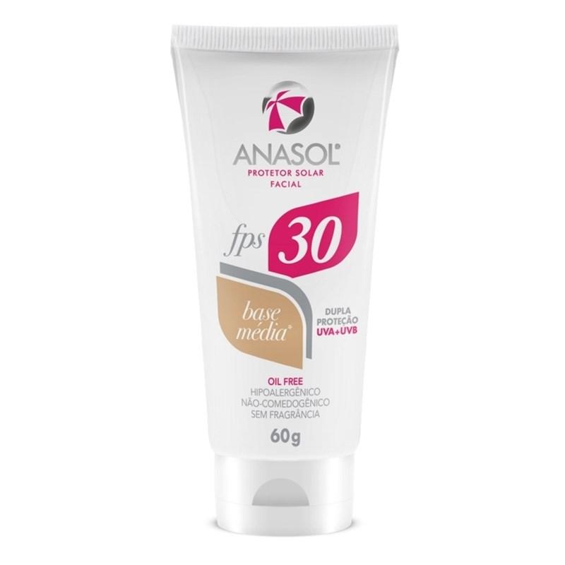Protetor Solar Facial Anasol FPS 30 60 gr Base Média