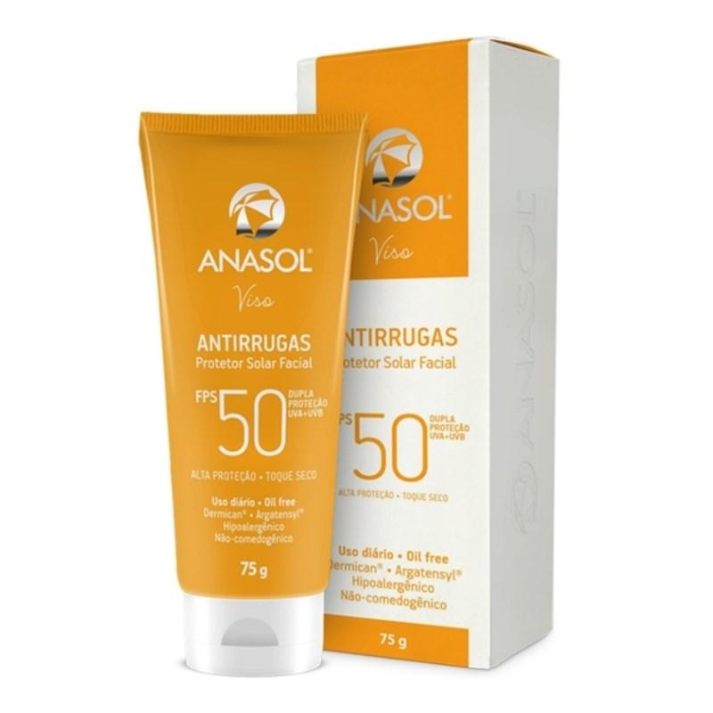 Protetor Solar Facial Anasol FPS 50 75 gr Antirrugas