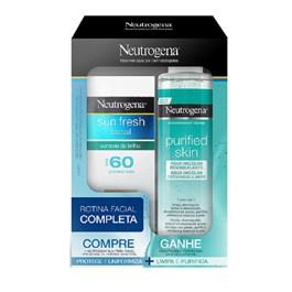 Protetor Solar Facial Neutrogena Sun Fresh FPS 60 Grátis Água Micelar Purified Skin