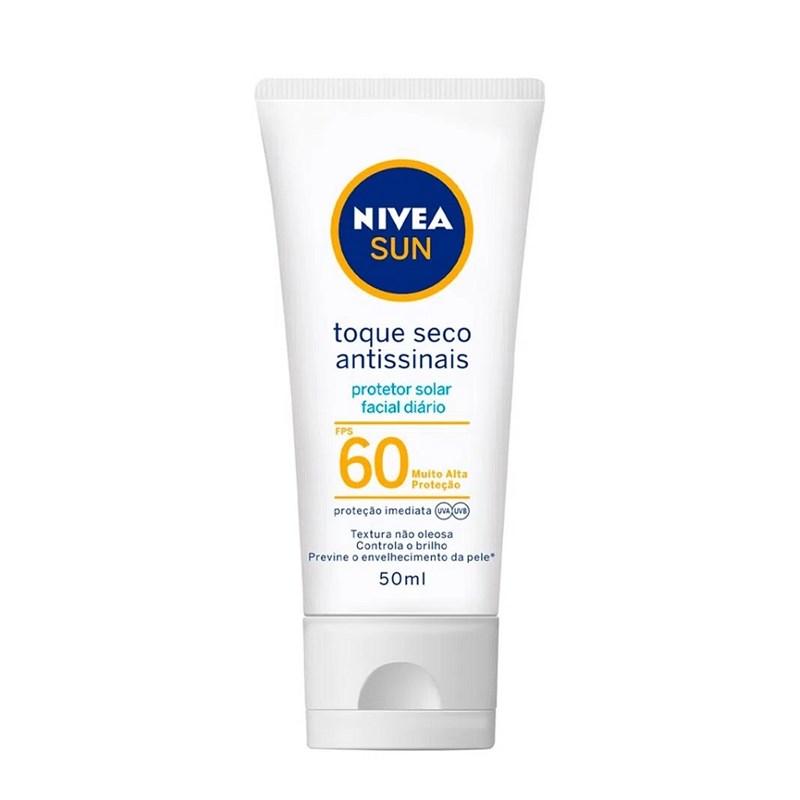 Protetor Solar Facial Nivea Sun FPS 60 50 ML Toque Seco Antissinais