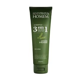 Shampoo Bio Extratus 250 ml Homem Cevada e Hortelã 3 em 1